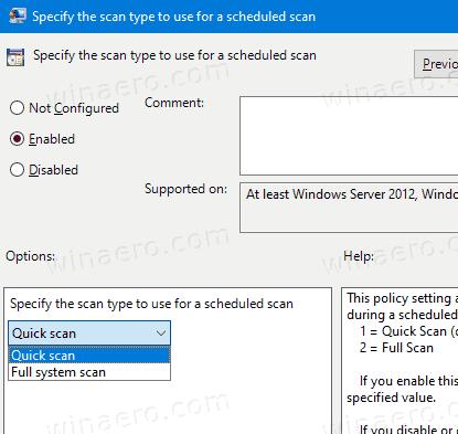 Windows 10 Change Scheduled Scan Type For Defender GP2