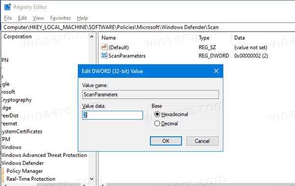 Windows 10 Change Scheduled Scan Type For Defender GP3