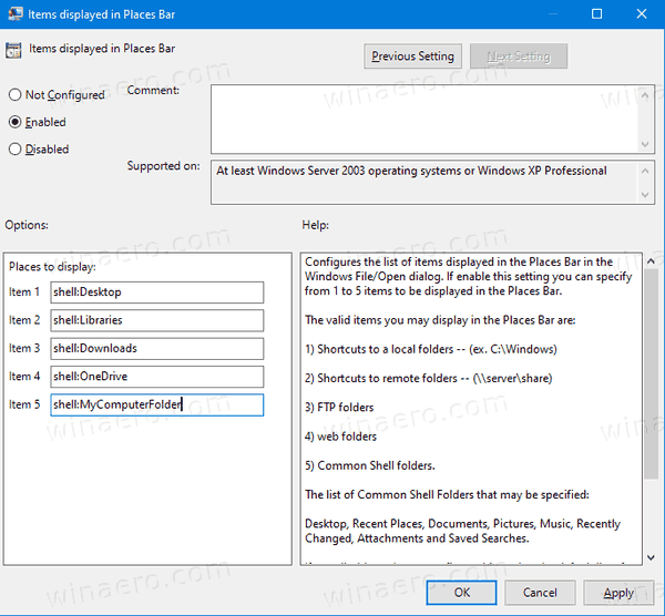 Windows 10 Customize Common File Dialog Policy