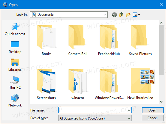 Windows 10 Default Common File Dialog