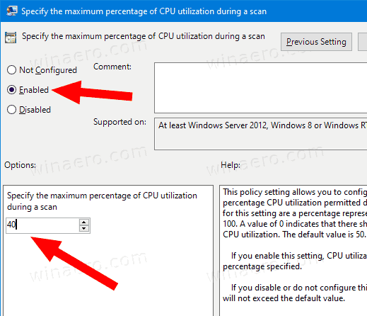 Windows 10 Defender Change Max CPU Usage Group Policy