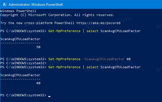 Windows 10 Defender Change Max CPU Usage Percentage