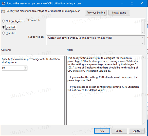Windows 10 Defender Enable Max CPU Usage Group Policy