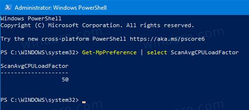 Windows 10 Defender Max CPU Usage Percentage