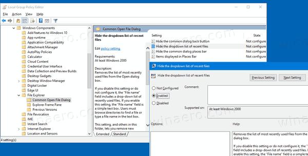 Windows 10 Hide Recent Files Dropdown Common Dialog