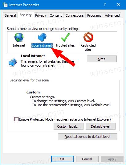 Windows 10 Internet Properties Security Tab Local Intranet Icon