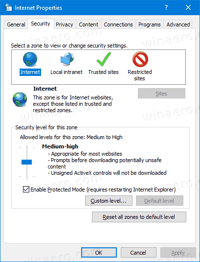 Windows 10 Internet Properties Security Tab