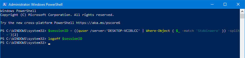 Windows 10 Logoff Another User PowerShell