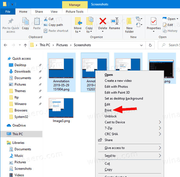 Windows 10 Print Context Menu Command