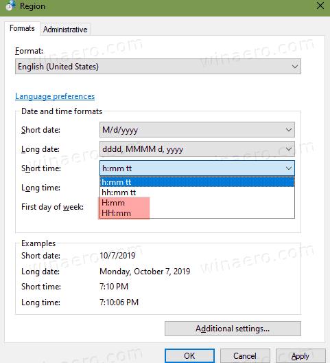 Windows 10 Taskbar Clock 24 Hour Format Classic Applet