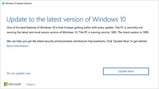 Windows 10 Update Assistant Notifications