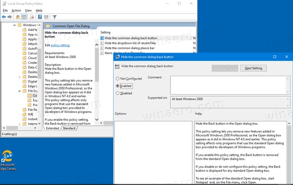 Windows Open Dialog Hide Back Button GP