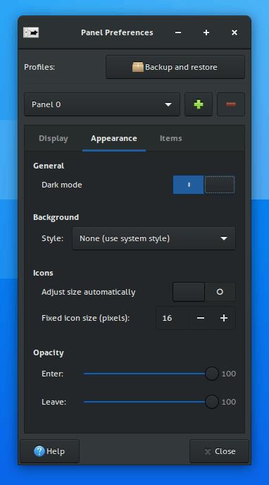 Xfce4.16 Panel Dark Csd