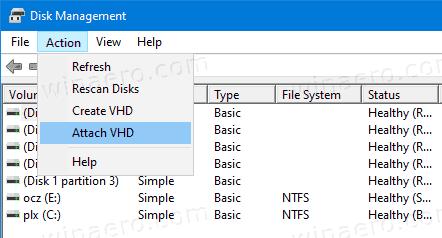 Disk Management Attach VHD 1