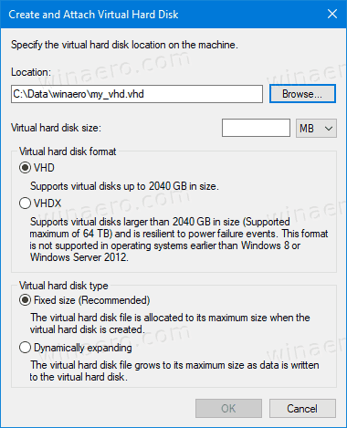 Disk Management Create VHD Dialog