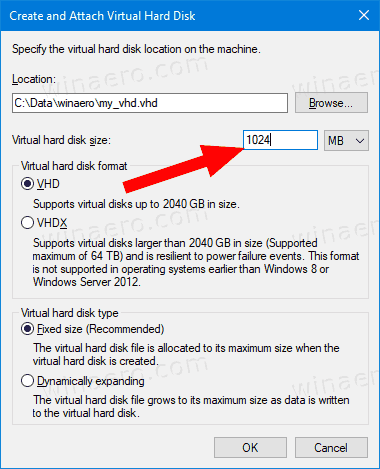 Disk Management Specify VHD Size