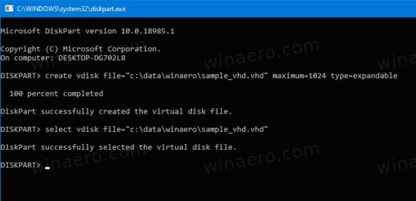 DiskPart Attach VHD 1