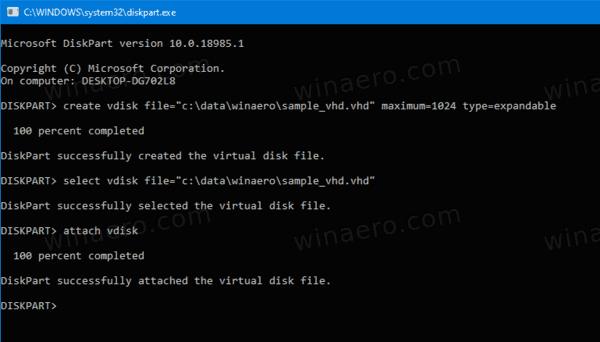 DiskPart Attach VHD 2