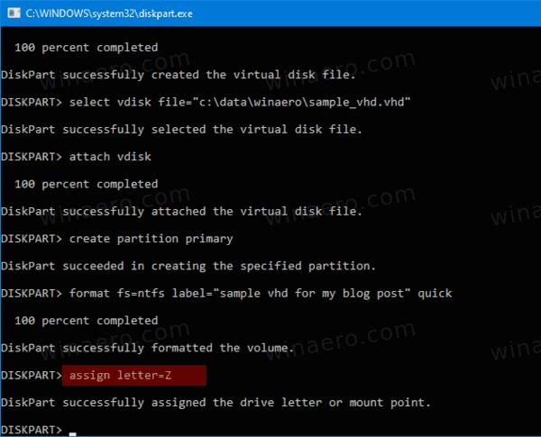 DiskPart Attach VHD 5