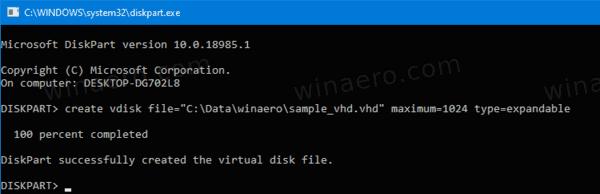 DiskPart Create VHD