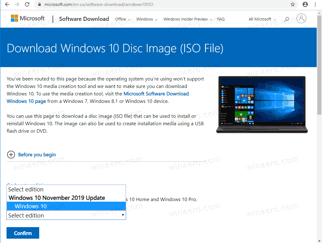 Download Windows 10 Version 1909 ISO Directly 3