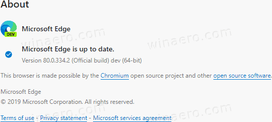 Edge 80.0.334.2 To The Dev Channel