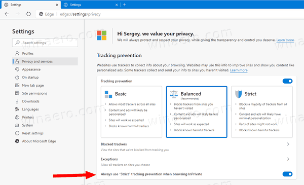 Enable Strict Tracking Prevention For InPrivate In Edge