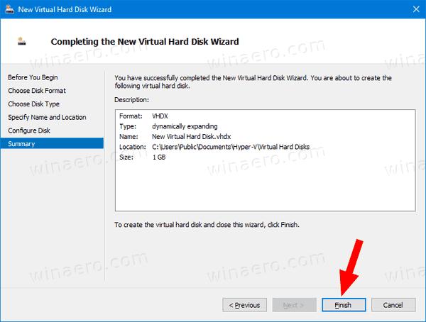 Hyper V New VHD Wizard 5
