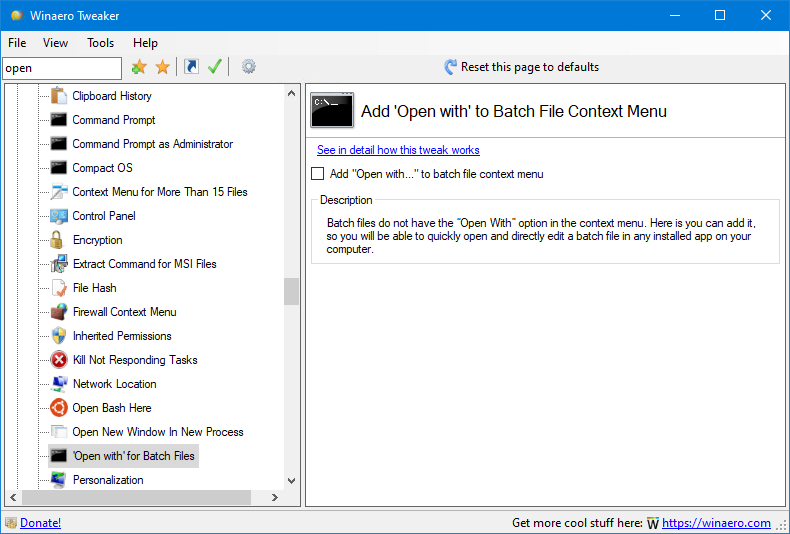 Tweaker 0.16 Open With Batch