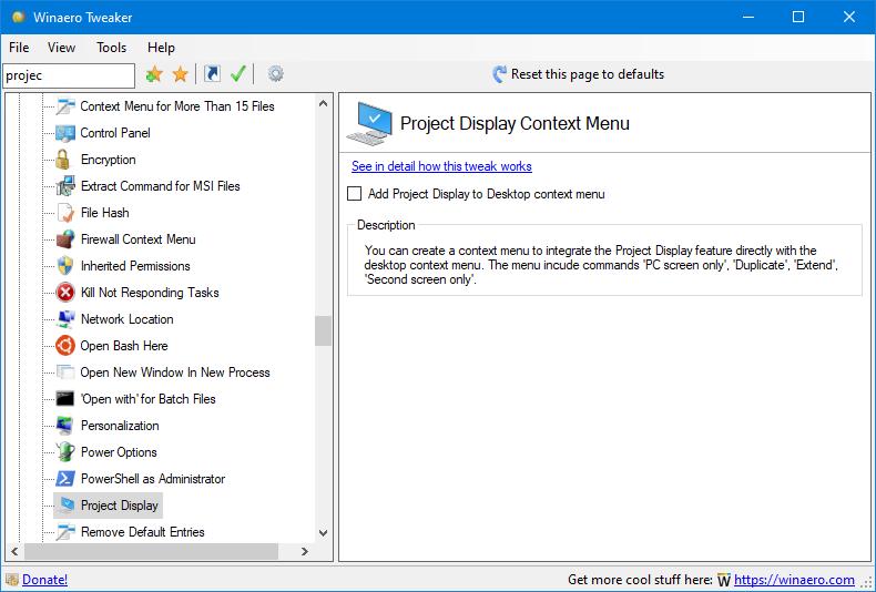 Tweaker 0.16 Project Display