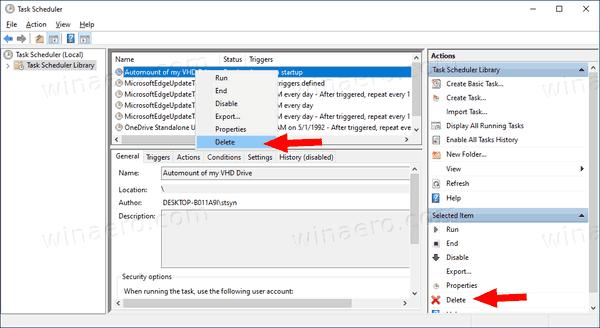 Windows 10 Automount VHD Delete Task