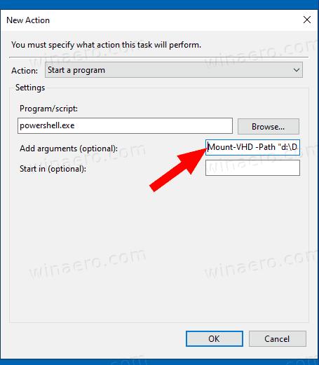 Windows 10 Automount VHD Task Action