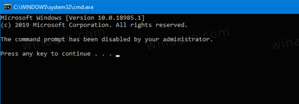 Windows 10 Command Prompt Is Disabled