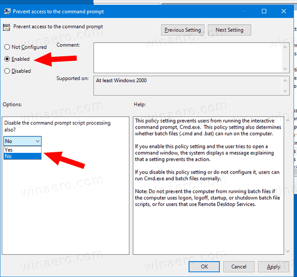 Windows 10 Disable Command Prompt And Batch Files