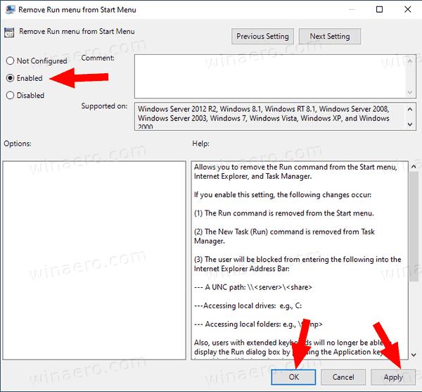 Windows 10 Disable Run Dialog Click OK Apply