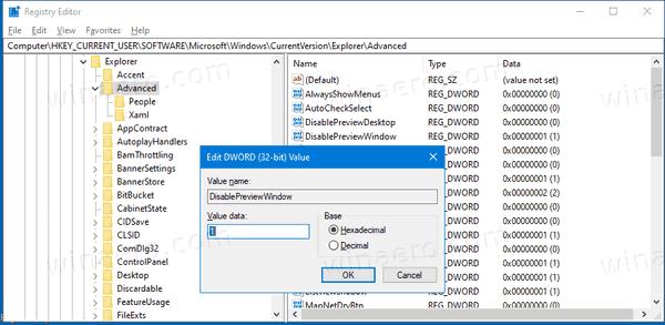 Windows 10 Disable Taskbar Thumbnail Desktop Window Preview
