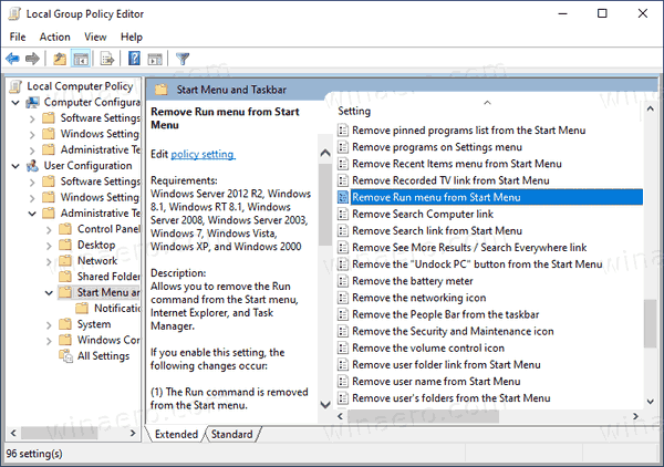 Windows 10 Group Policy Remove Run From Start