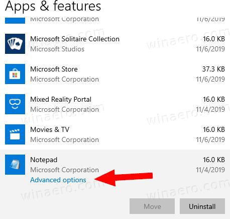 Windows 10 Notepad App Advanced Options Link
