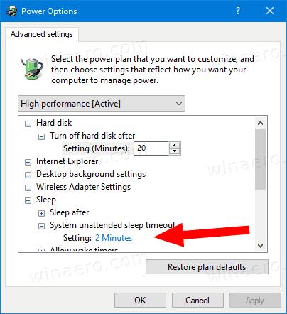 Windows 10 System Unattended Sleep Timeout