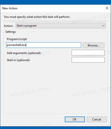 Windows 10 Task Scheduler New Action PowerShell Exe