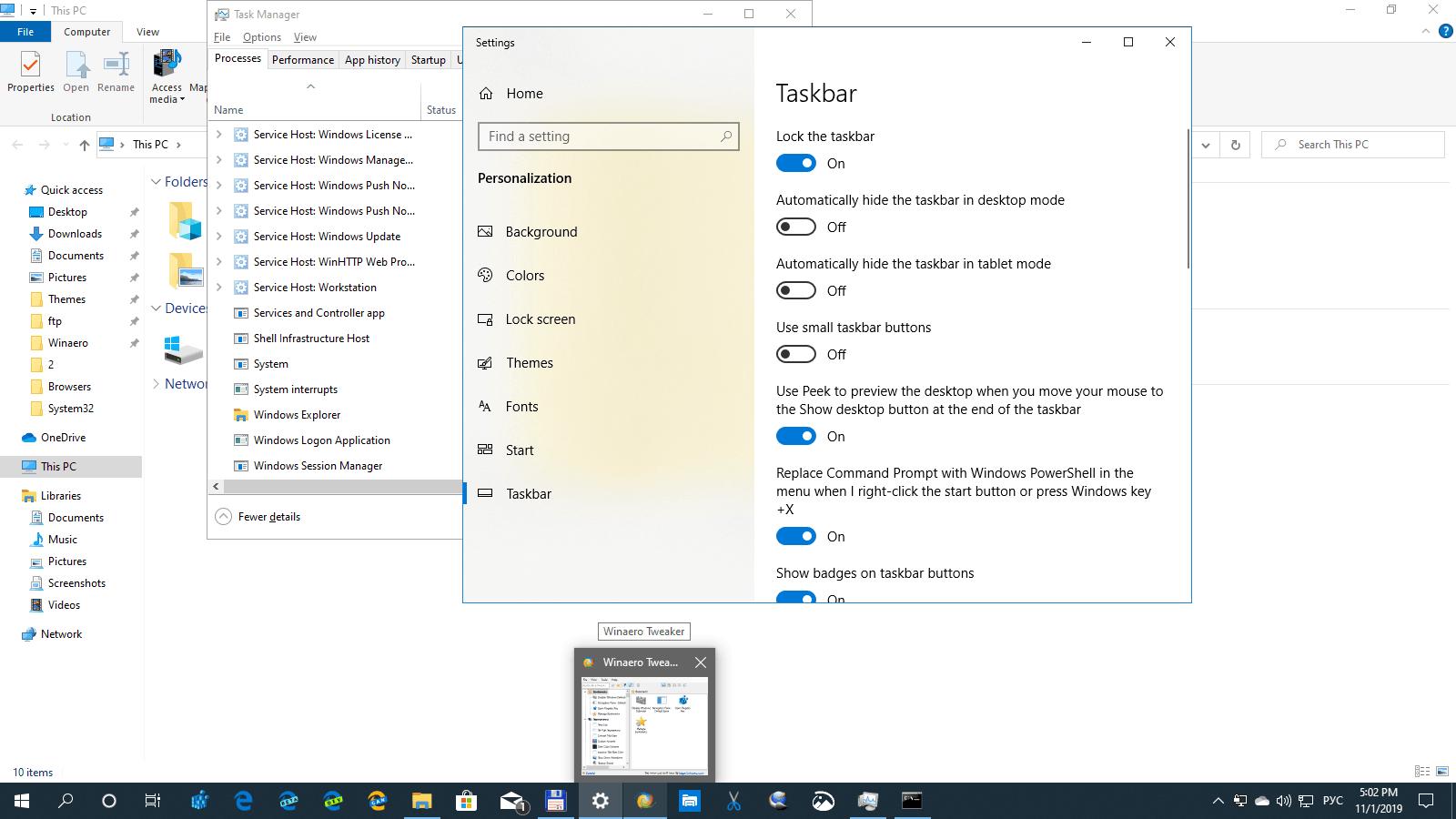 Windows 10 Taskbar Thumbnail Desktop Window Preview Disabled