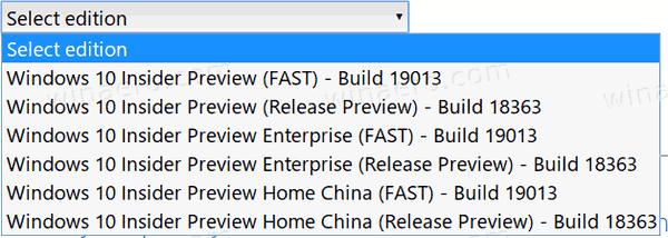 Windows 10 Build 19013 ISOs