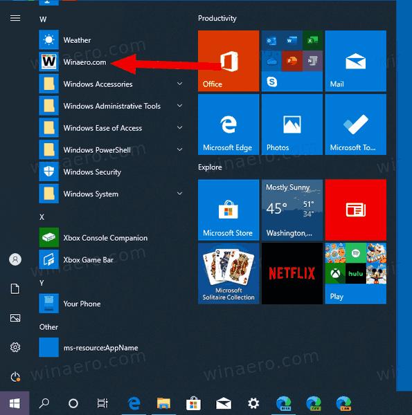 Add Site To Apps In Windows 10 Start Menu 2