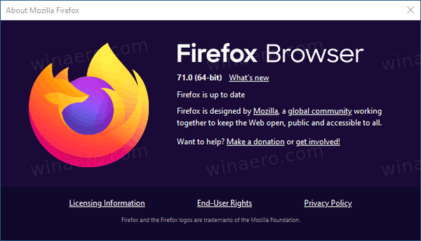 Firefox 71 About