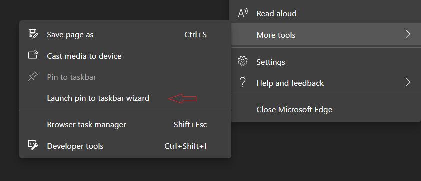 Microsoft Edge Pin Web Site Wizard 1