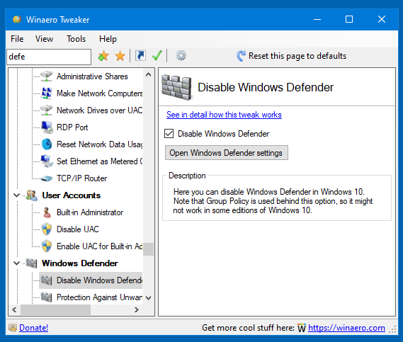 Winaero Tweaker 0.16.1 Disable Defender