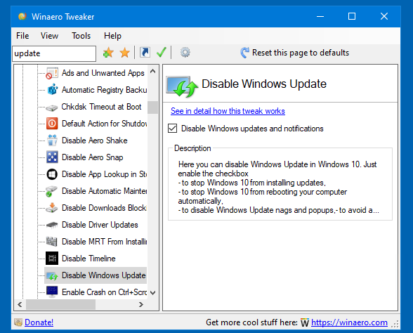 Winaero Tweaker 0.16.1 Disable Updates