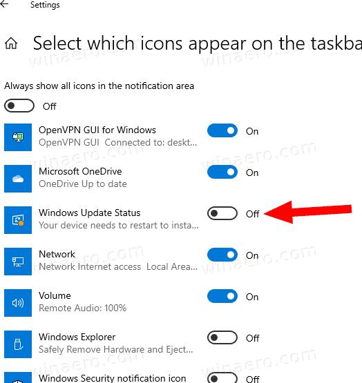 Windows 10 Hide Windows Update Status Icon Settings 2