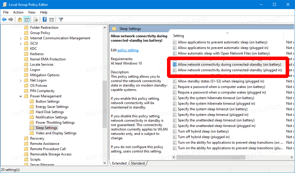 Windows 10 Networking Connectivity In Standby GP 1