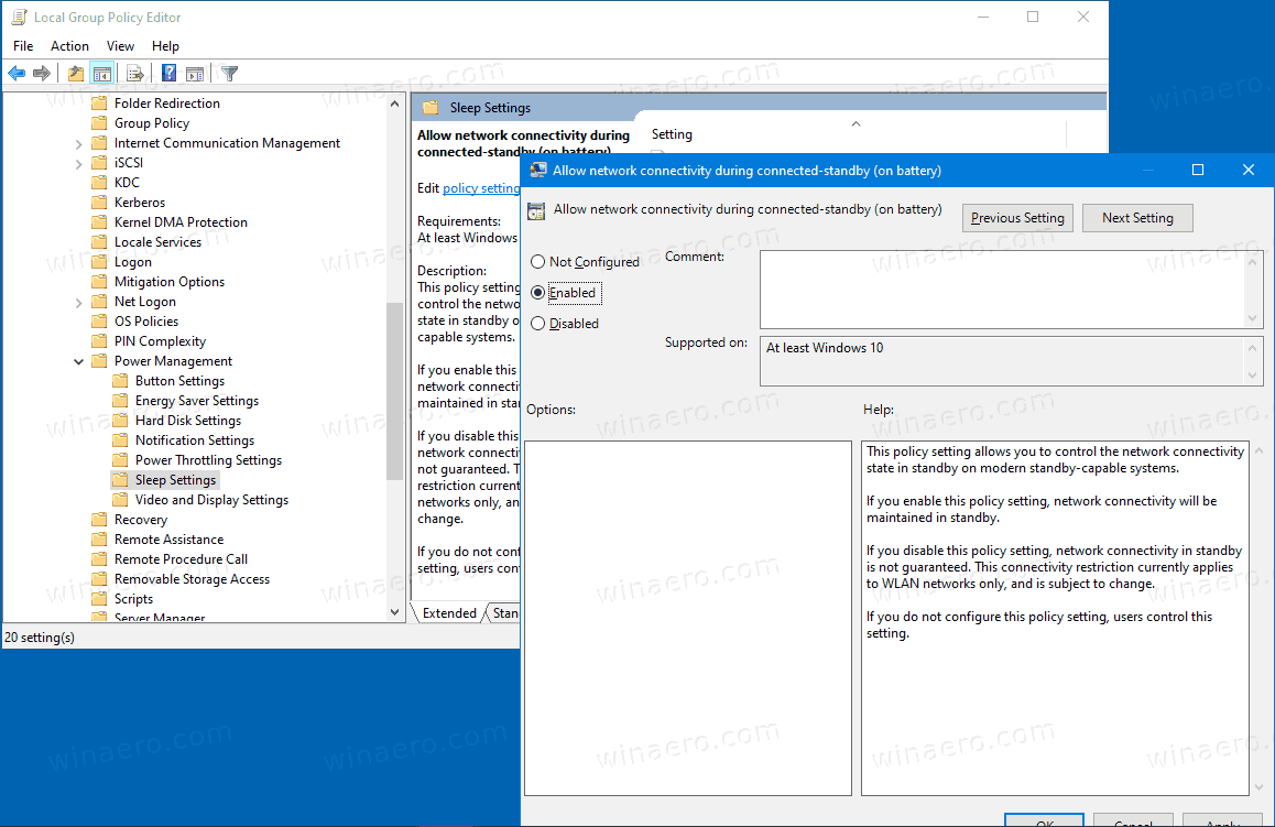 Windows 10 Networking Connectivity In Standby GP 2